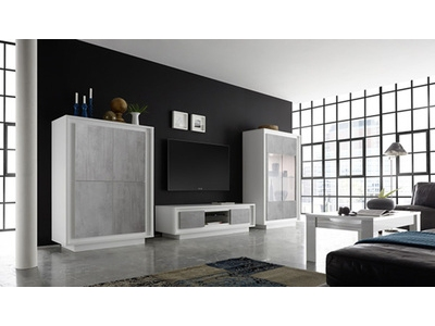 Bahut 4 portes Sky blanc mat/beton