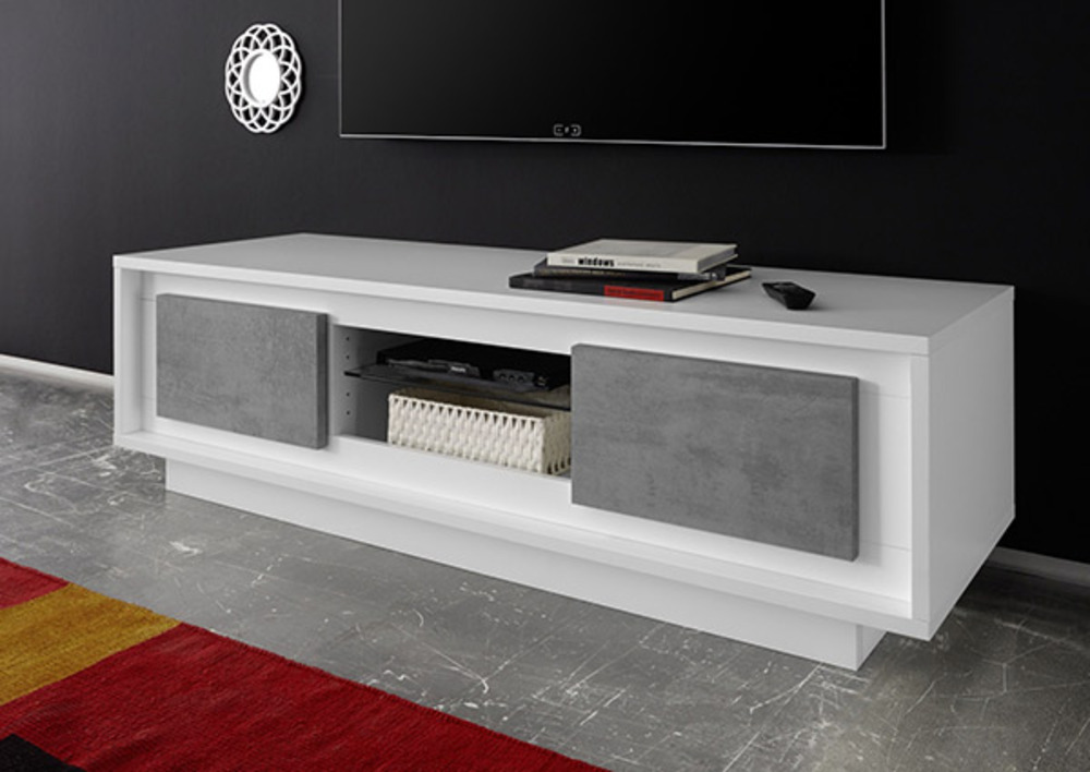 Meuble tv Sky blanc mat laque/beton