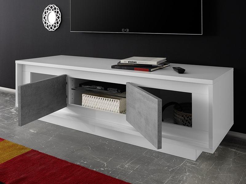 meuble tv sky blanc mat laque beton. Black Bedroom Furniture Sets. Home Design Ideas