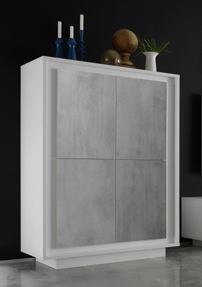 Meuble De Rangement 4 Portes Sky / Prato Blanc Mat / Béton