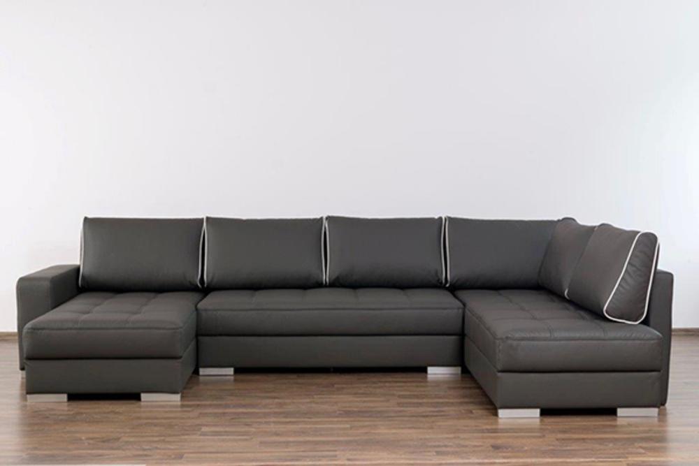 canap d 39 angle amaro noir piqure gris perle. Black Bedroom Furniture Sets. Home Design Ideas