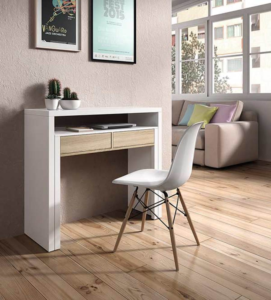 bureau console alicia blanc brillant hetre. Black Bedroom Furniture Sets. Home Design Ideas