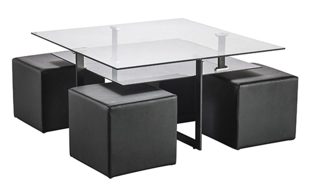 Table Basse Avec Tabouret.Table Basse 4 Poufs Solo