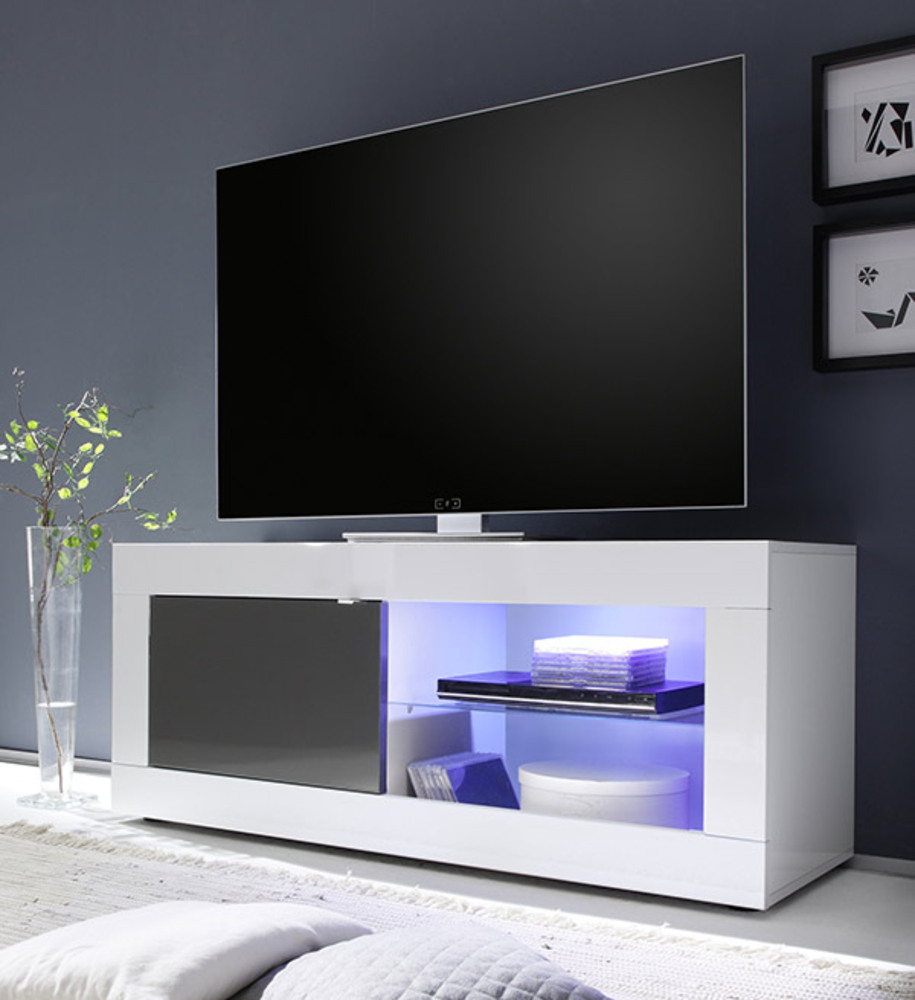 Meuble tv basic blanc anthracite brillant blanc brillant - Meuble tv anthracite ...
