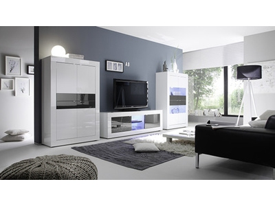 Meuble tv Costa blanc/ anthracite brillant