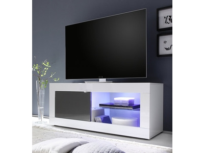 Meuble tv Basic blanc/ anthracite brillant