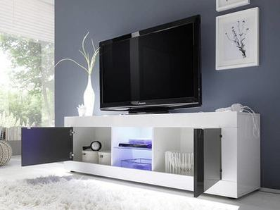 Meuble tv gm Costa blanc/ anthracite brillant