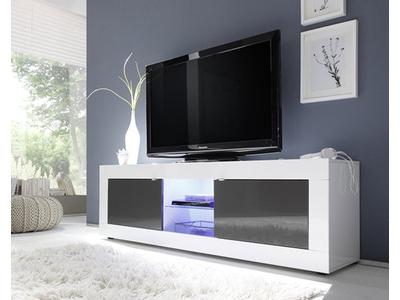 Meuble tv gm Basic blanc/ anthracite brillant