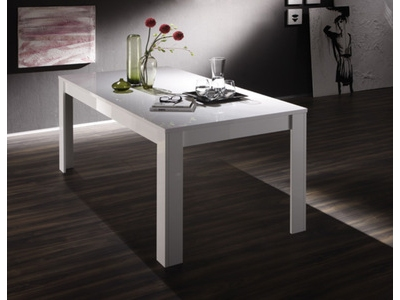 Table de repas Basic blanc/ anthracite brillant