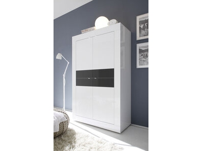 Vitrine 4 portes Basic blanc/ anthracite brillant