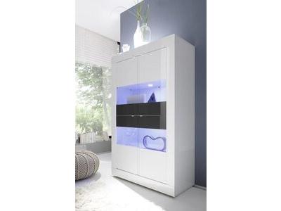 Vitrine 4 portes vitréés Basic blanc/ anthracite brillant