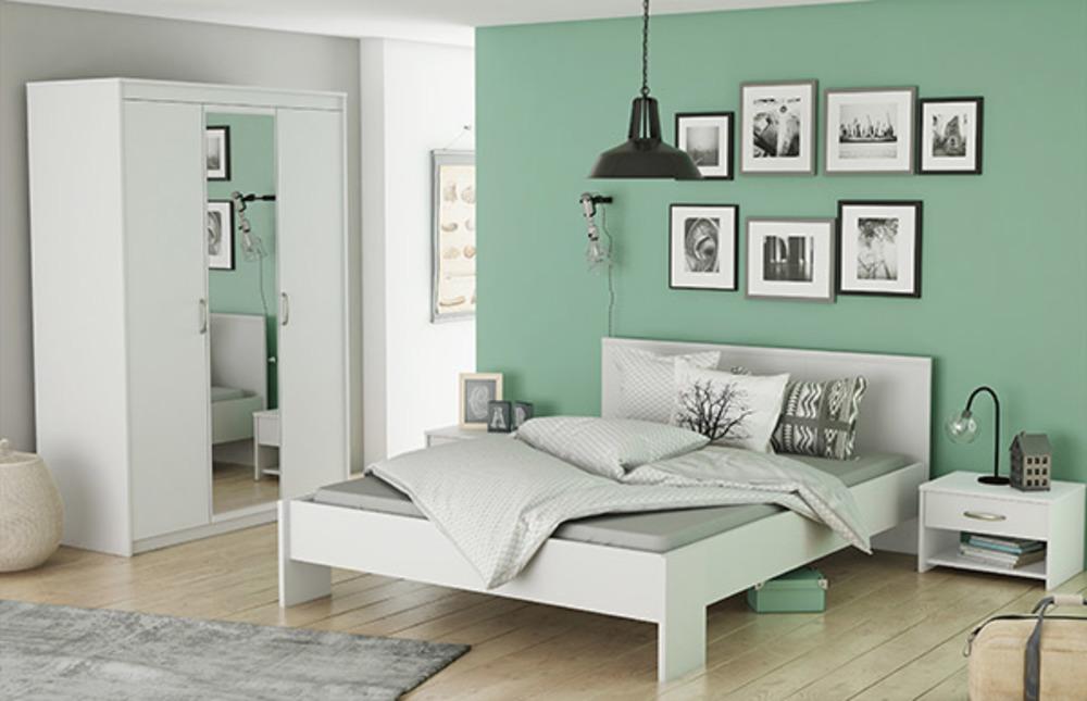 Armoire 3 portes marty blanc for Ensemble meuble chambre adulte