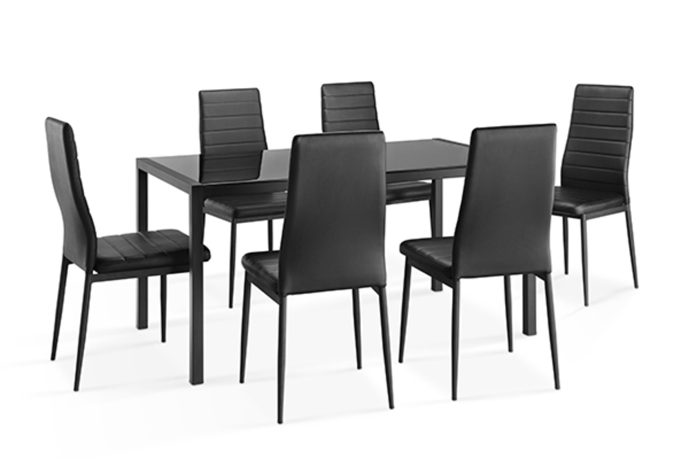 table 6 chaises ana 16 noir. Black Bedroom Furniture Sets. Home Design Ideas