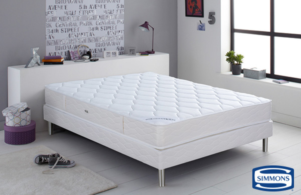 sommier simmons bord droit cancun l 160 x h 15 x p 200. Black Bedroom Furniture Sets. Home Design Ideas