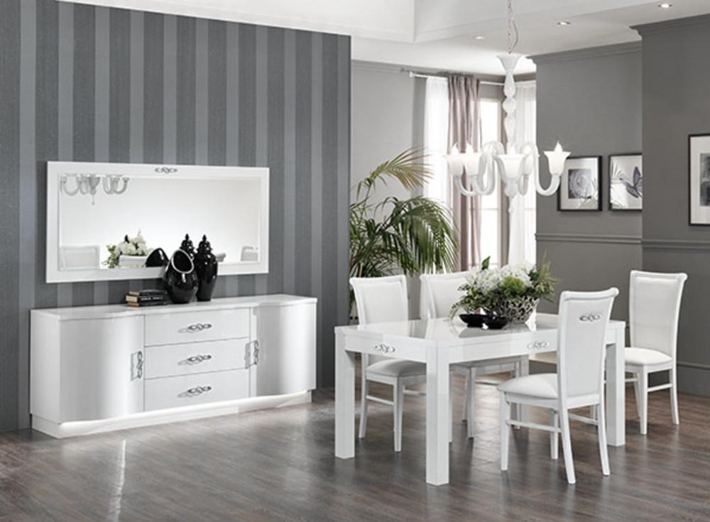 Bahut 2 portes 3 tiroirs avec leds athena blanc brillant for Meuble salle a manger 3 portes