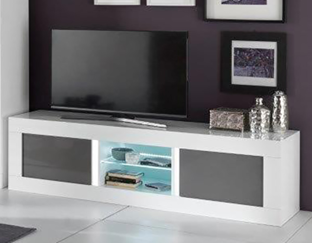 meuble tv plasma neos blanc gris blanc blanc gris l 180 x h 50 x p 48. Black Bedroom Furniture Sets. Home Design Ideas