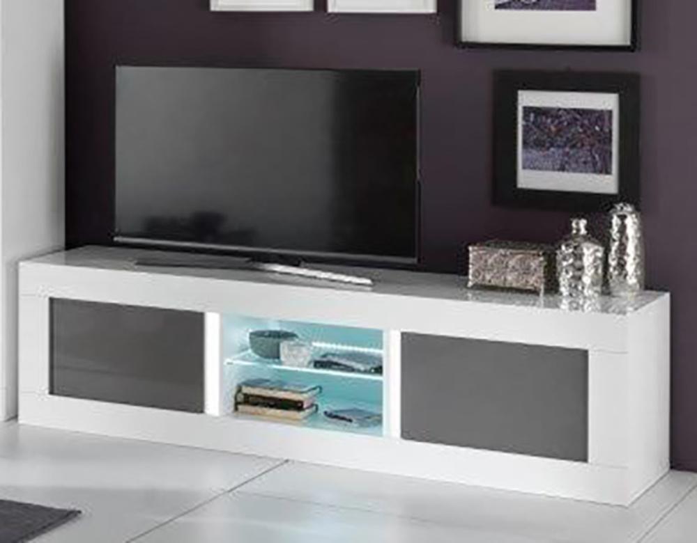 Meuble tv plasma neos blanc gris blanc blanc gris l 180 x - Meuble pour television plasma ...