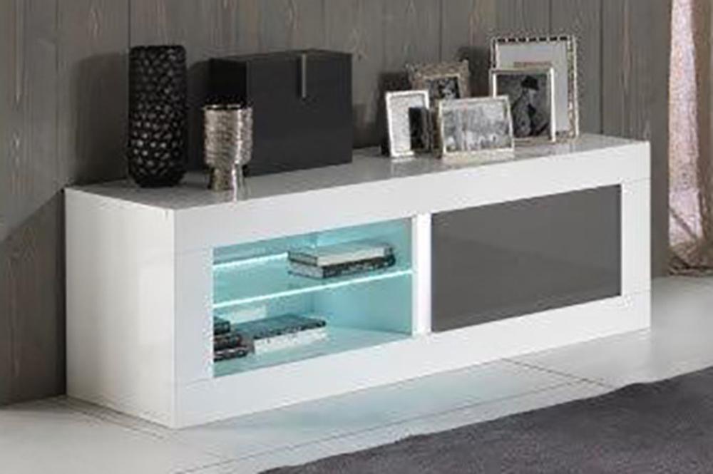 Meuble tv plasma neos blanc gris blanc blanc gris l 144 x - Meuble blanc et gris ...