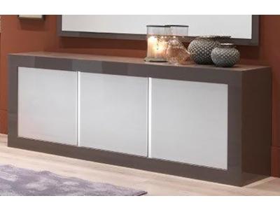 Bahut 3 portes Neos gris/blanc