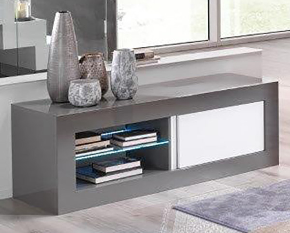 meuble tv plasma neos gris blancl 144 x h 50 x p 48. Black Bedroom Furniture Sets. Home Design Ideas