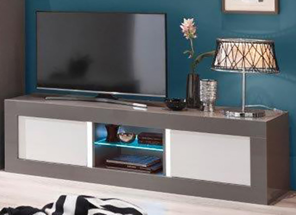 Meuble tv plasma neos gris blancl 180 x h 50 x p 48 for Meuble tv 50