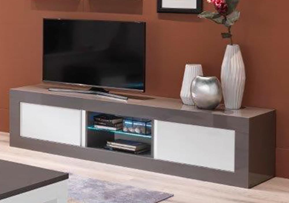 Meuble tv plasma neos gris blancl 207 x h 50 x p 48 for Meuble tv 50