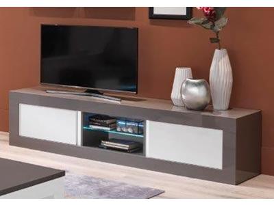 Meuble tv plasma fano laque blanc brillant blanc l 150 x h 50 x p 50 - Meuble tv longueur 100 cm ...