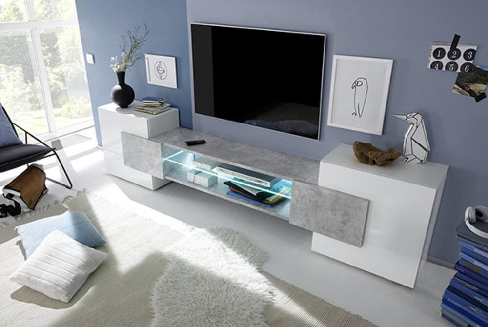 Meuble Tv Incastro Trieste Blanc Brillant Beton