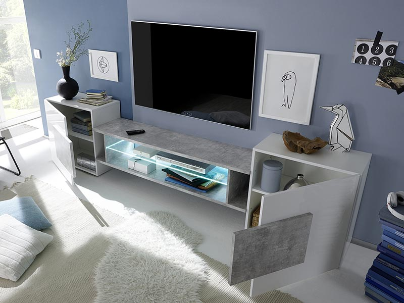 meuble tv incastro trieste blanc brillant b ton. Black Bedroom Furniture Sets. Home Design Ideas