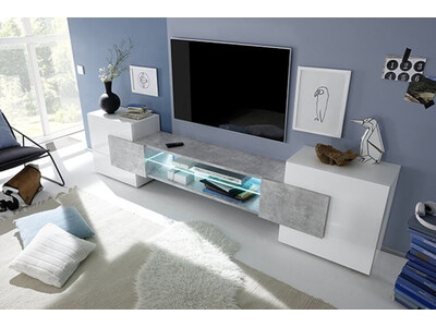 Meuble tv Trieste blanc brillant/béton