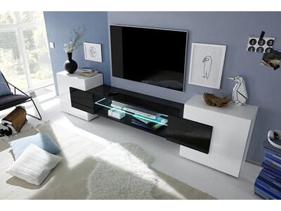 Meuble tv Trieste blanc brillant/noir
