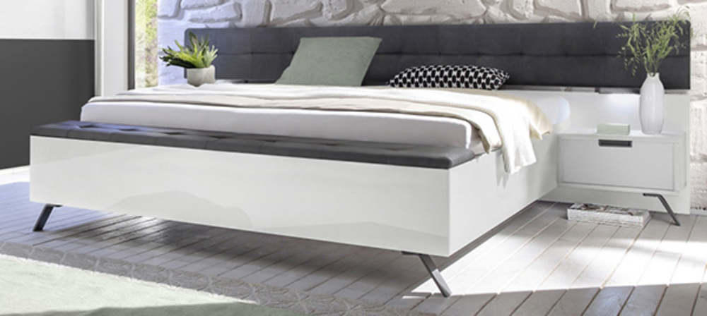 lit banc simili capitonn palma style blanc simili cuir fonc. Black Bedroom Furniture Sets. Home Design Ideas