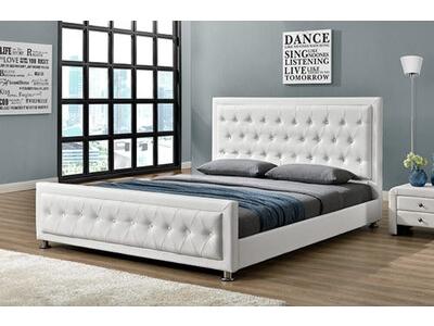 lit capitonn prestige blanc l 146 5 x h 107 x p 208. Black Bedroom Furniture Sets. Home Design Ideas
