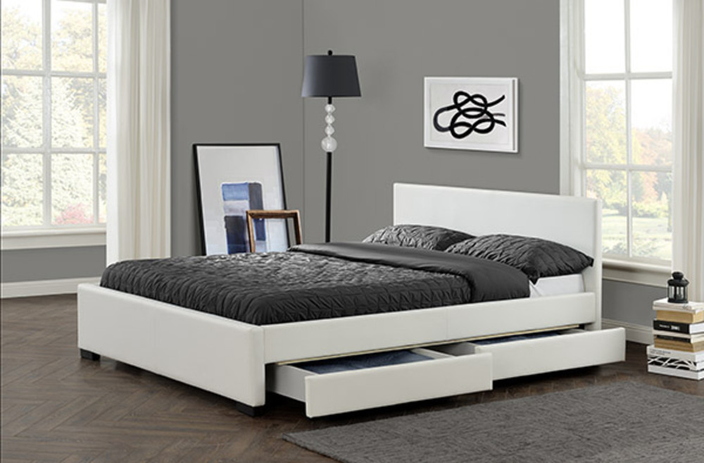lit avec tiroir rebecca blanc l 168 x h 85 x p 212. Black Bedroom Furniture Sets. Home Design Ideas