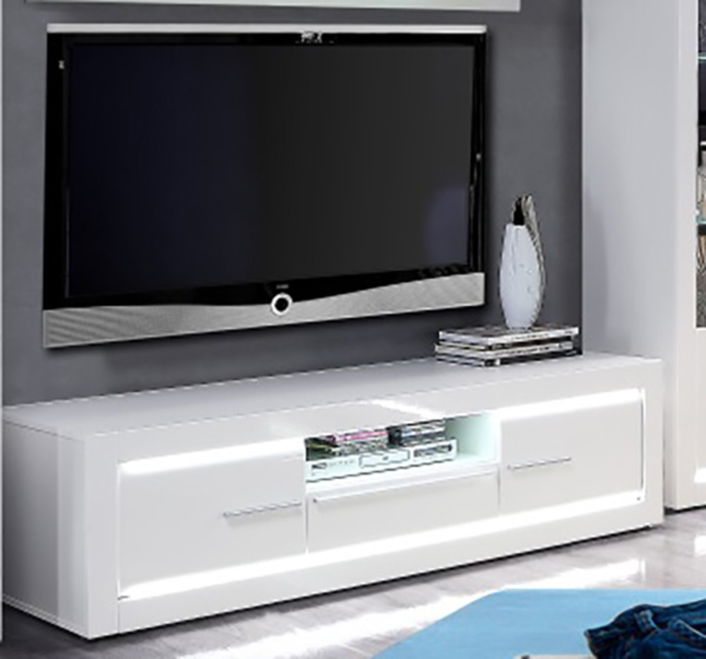 Meuble tv light blanc brillant for Basika meuble tv