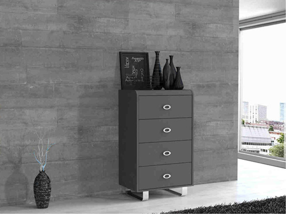 chiffonnier 4 tiroirs gipsy gris anthracite. Black Bedroom Furniture Sets. Home Design Ideas