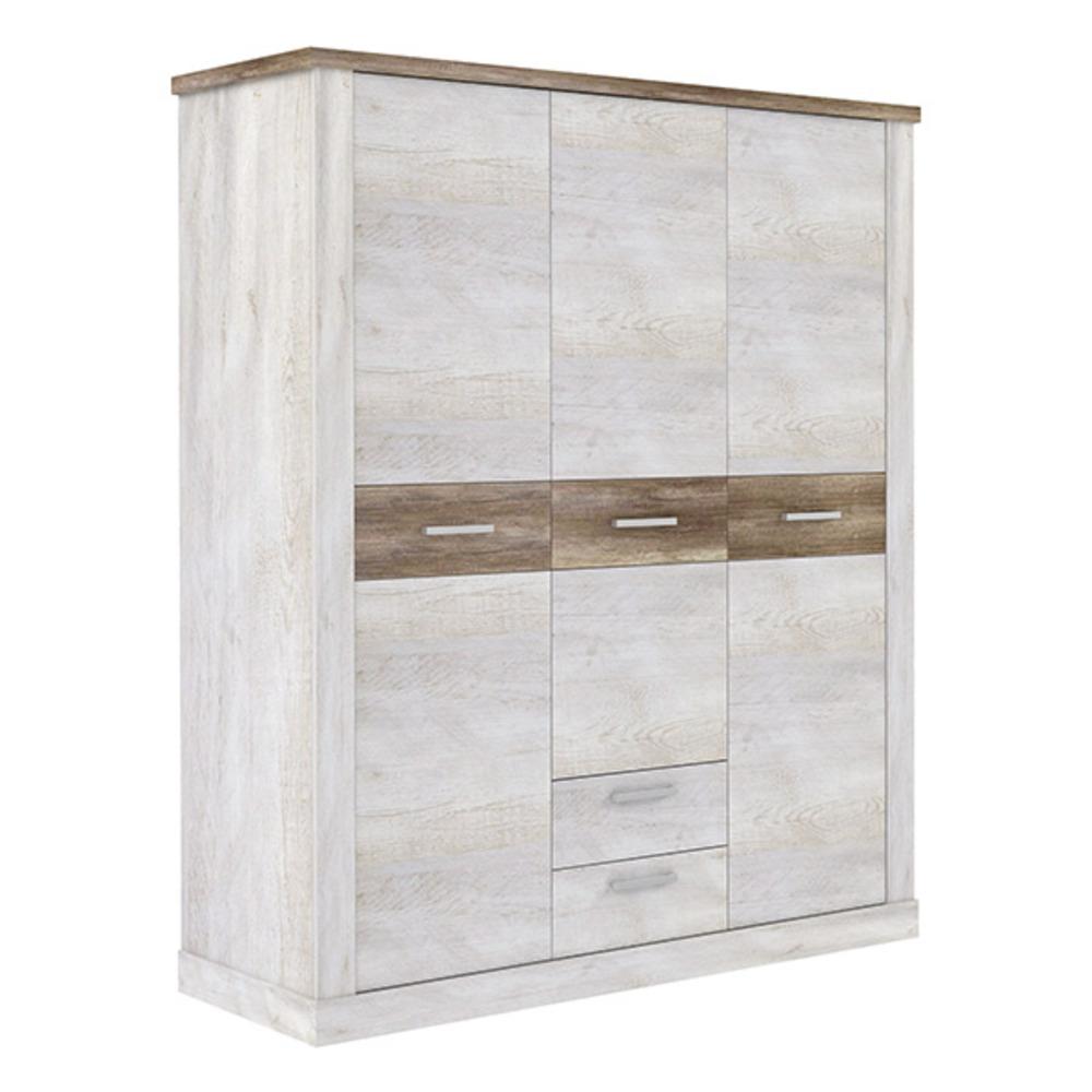 Armoire 3 portes 2 tiroirs duro chambre coucher pin for Armoire tiroir chambre