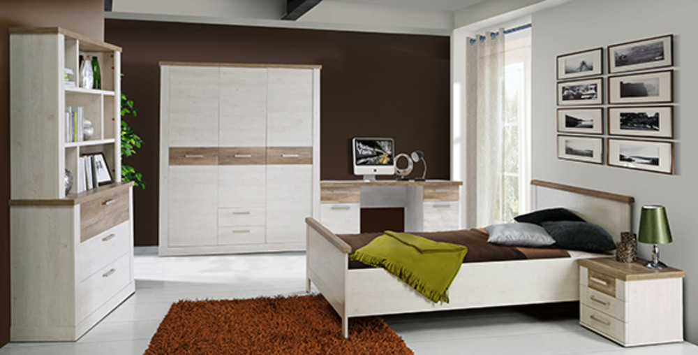 Armoire 3 portes 2 tiroirs Duro chambre à coucher Pin blanc/chene ...