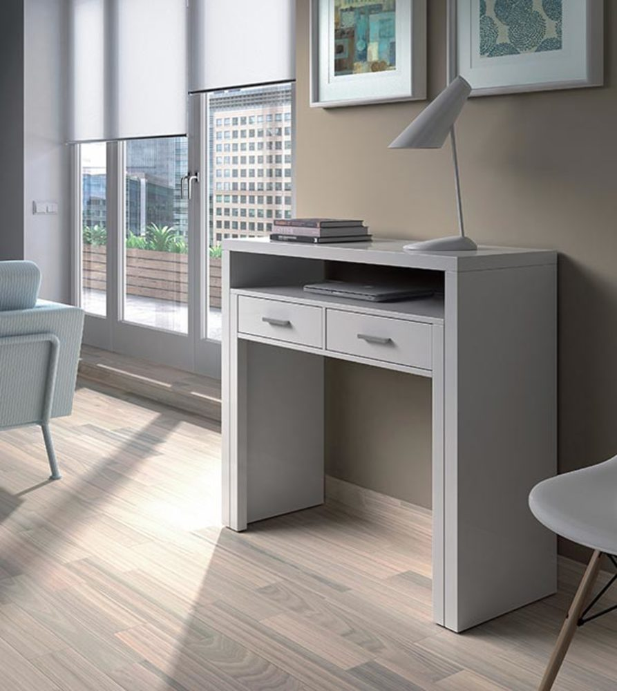 Bureau console alicia blanc brillant for Meuble bureau