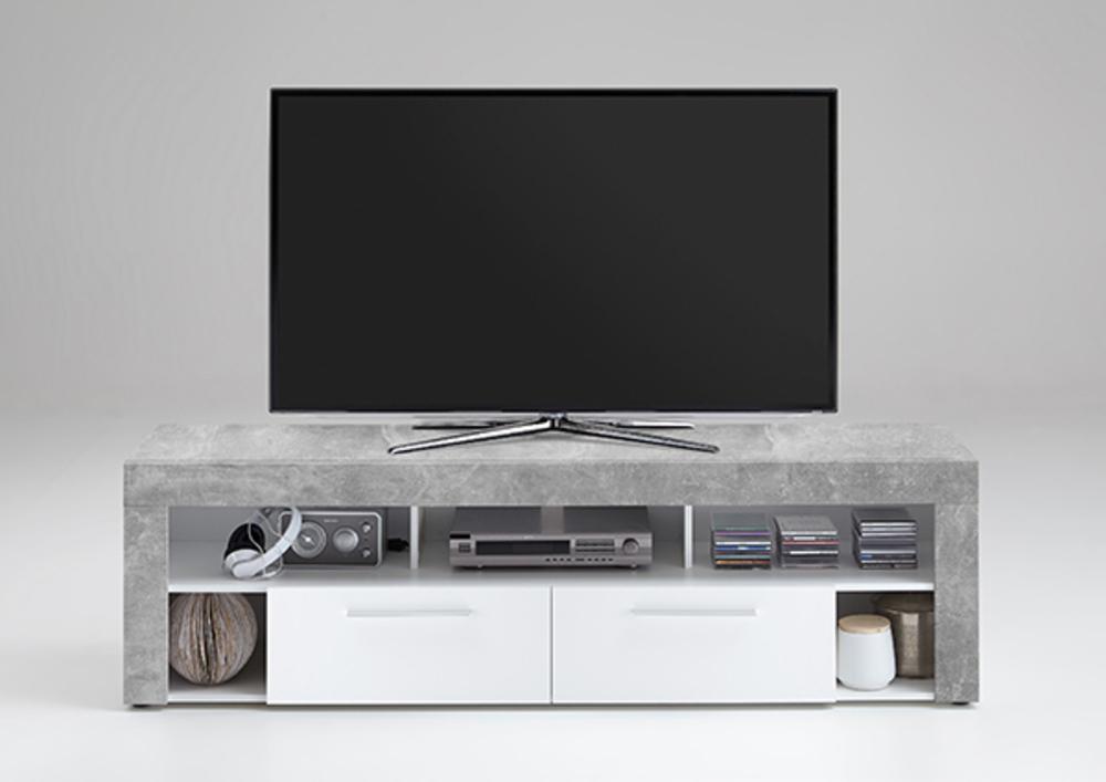 Meuble tv vibio 2 b ton blanc for Basika meuble tv