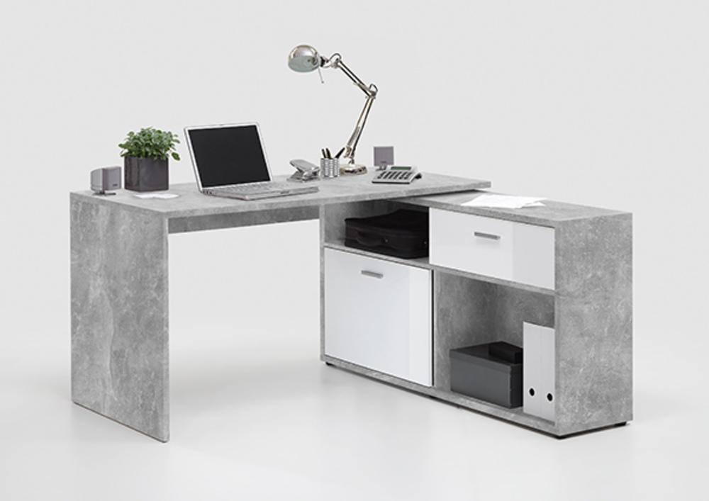 Bureau d 39 angle diego 1 b ton blanc brillant for Meuble bureau d angle