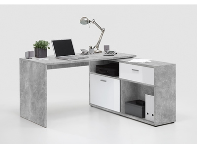 Bureau dangle Diego 1 Btonblanc brillant