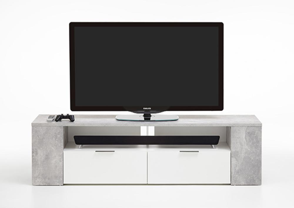 Meuble Tv Tabor 2 B Ton Blanc Brillant