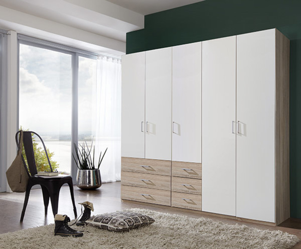armoire 5 portes danzig blanc chene. Black Bedroom Furniture Sets. Home Design Ideas