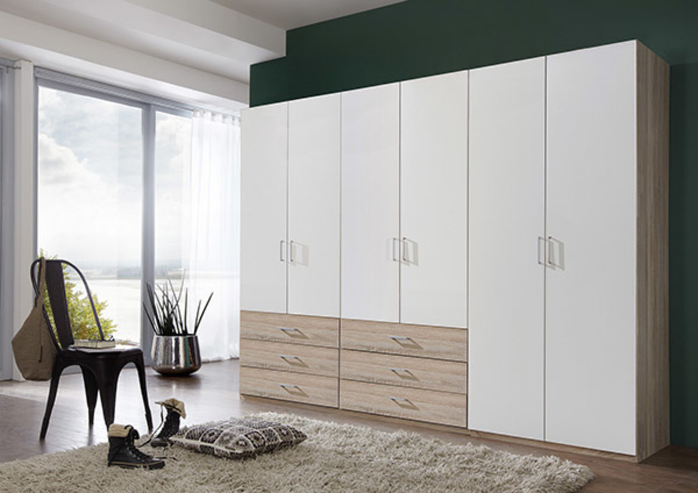 armoire 6 portes danzig blanc chene. Black Bedroom Furniture Sets. Home Design Ideas