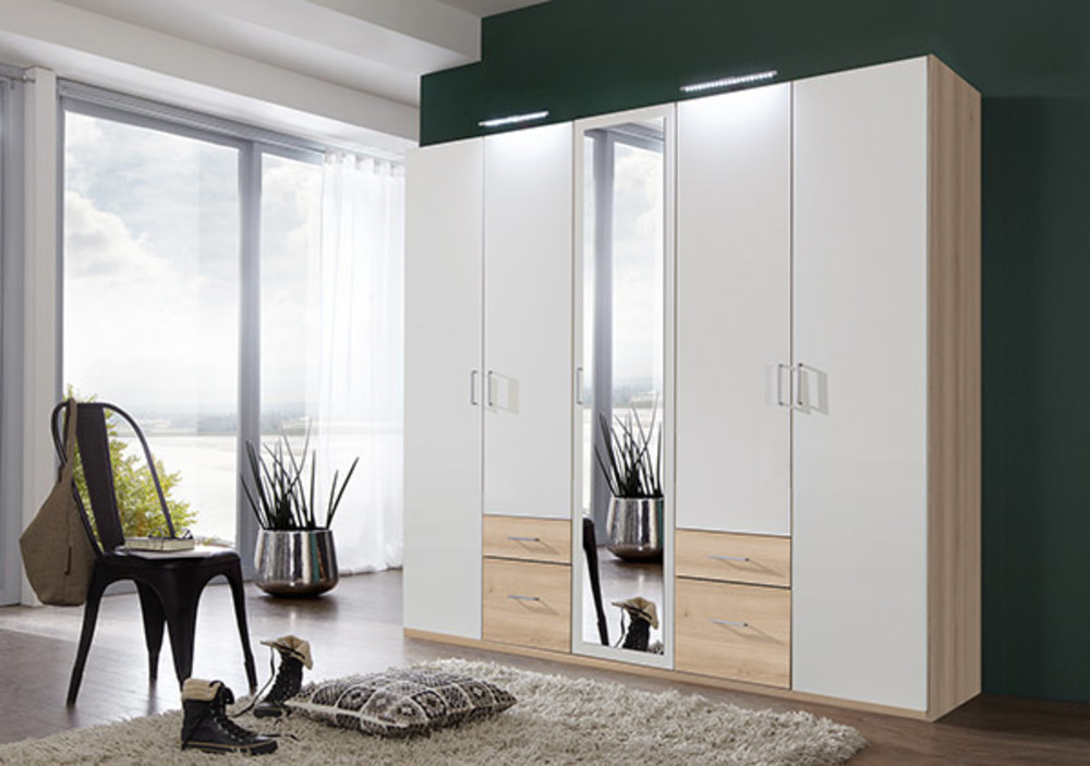 armoire 5 portes 4 tiroirs fly blanc hetre noble. Black Bedroom Furniture Sets. Home Design Ideas