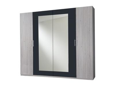 Armoire 4 portes Francy chene blanc/rechampis anthracite
