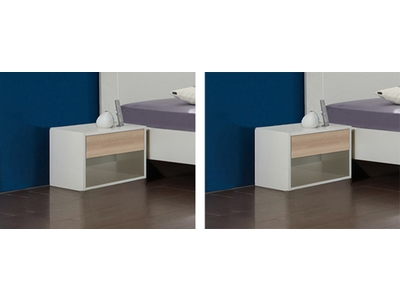 Lot de 2 chevets Ilona blanc/hetre noble
