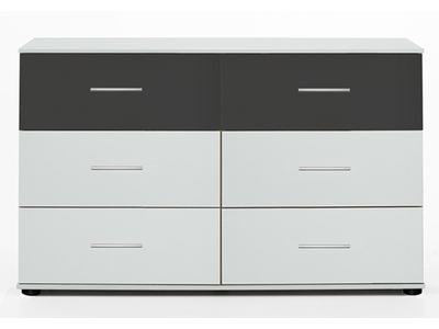 Commode 6 tiroirs Ilona blanc/anthracite