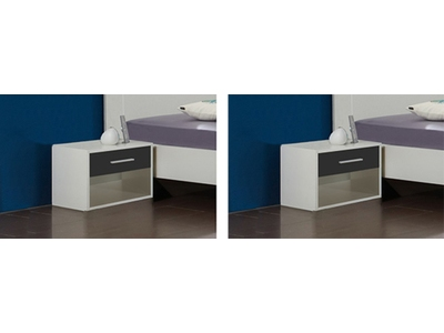 Lot de 2 chevets Ilona blanc/anthracite